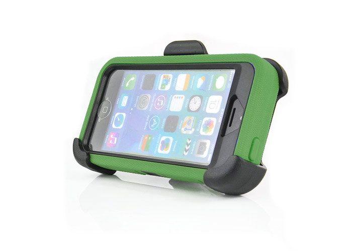 Image of   iPhone 5/5s/SE - 4 i 1 Stødabsorberende 360 graders roterende Silikone Cover med Remlås - Grøn