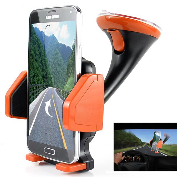 Image of   360° Roterende Universal Car Mount Suction Holder til Smartphones - Orange