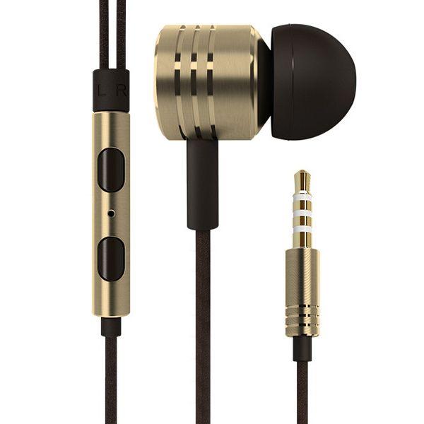 Image of   3.5mm Høj Kvalitet Høretelefoner med Volume knap - Guldfarve