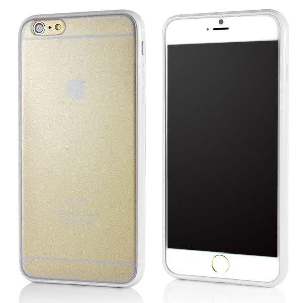 Image of   iPhone 6 Plus//6S Plus - Mat Gennemsigtig Back TPU + Beskyttende PC Etui - Hvid