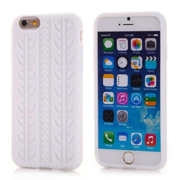 Image of   iPhone 6/6S - Skridfast Fleksibel Silikone Cover med Dæk-Mønster - Transparent Hvid