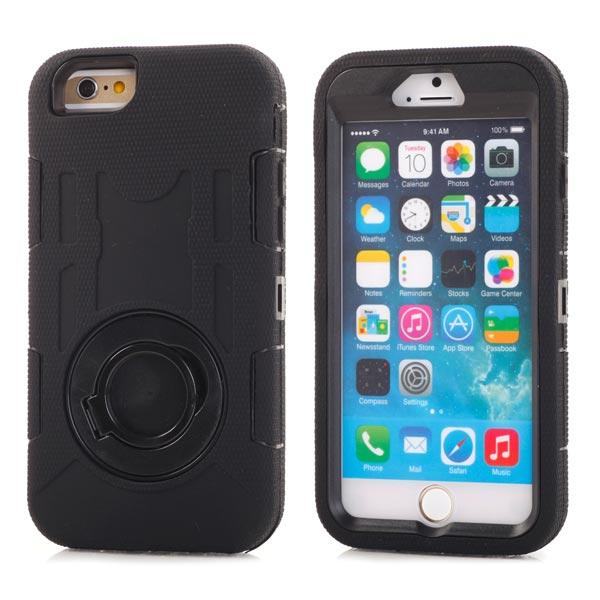 Image of   iPhone 6/6S - Stødsikker Silikone og Polykarbonat Etui med Ringholder - Sort