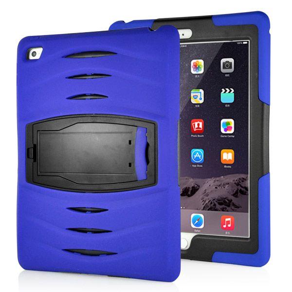 iPad Air 2 - Stødsikker Hybrid Silikone og Plastic Etui/cover - Mørkeblå