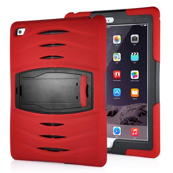 Image of   iPad Air 2 - Stødsikker Hybrid Silikone og Plastic Stand Etui - Rød