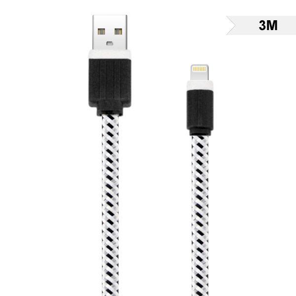Image of   3M Holdbar Nylon USB-Kabel Til Opladning og Datasync - Hvid