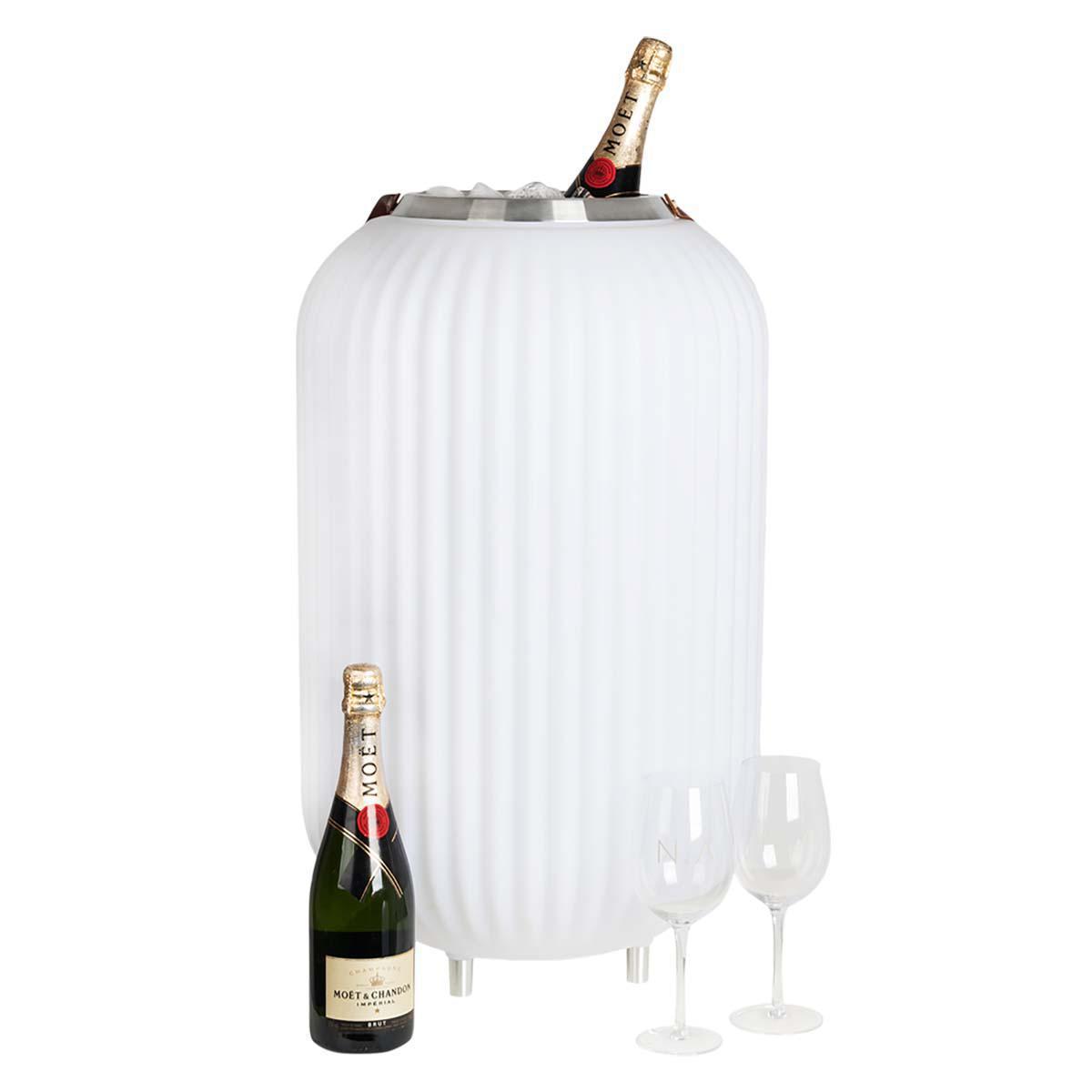 The.Lampion L – Lampe med indbygget Bluetooth Højttaler & Vinkøler – Hvid