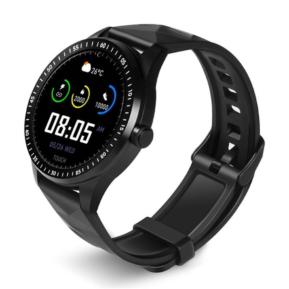 Smartwatch E1 - Fitness Tracker med puls, blodtryk, Søvnmønster, Sociale medier, pedometer, sports modes - Sort