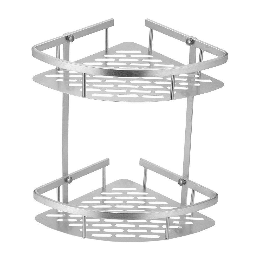 Billede af Hjørnehylde til Brusekabine/Bardeværelse i aluminium - To Hylder - To Kroge - Sølv