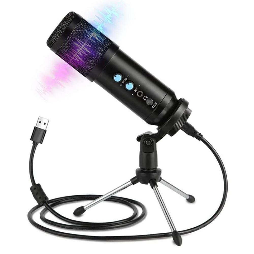Mikrofon til PC/Laptop/Gaming – Kondensator – Inkl. Tri-Pod – Sort