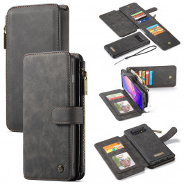ccb990926d0 Samsung Galaxy S10 Plus - CASEME 2-i-1 ægte læder cover/pung m/aftagelig  holder - Grå/sort