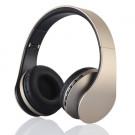 BTH-811 4-i-1 Over-øre Trådløs Bluetooth Hovedtelefon med Mikrofon Support FM/Aux-in/TF Card - Guldfarve