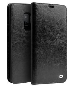 Samsung Galaxy S9 Plus - QIALINO ægte læder cover - Sort