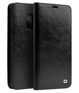 Samsung Galaxy S9 - QIALINO ægte læder cover - Sort