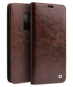 Samsung Galaxy S9 Plus - QIALINO ægte læder cover - Brun