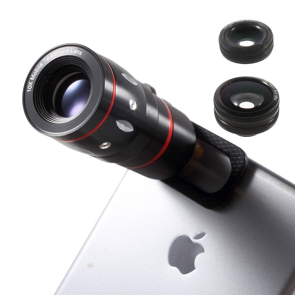 Image of   iPhone / smartphone - Linse sæt - Teleskob linse 10xZoom + Fish eye + Vinvinkel + macro med clip - Sort