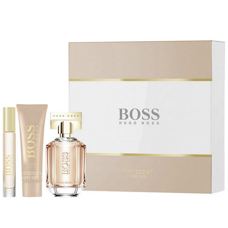 Image of   Hugo Boss - The Scent for Her - EDP 50ml + 50ml Body Lotion + 7,4ml EDP - Gaveæske - Kvinder