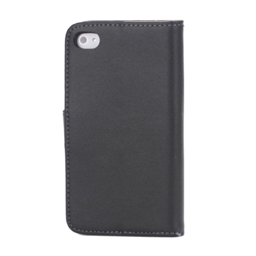 iPhone 4/4s - Ægte læder cover / pung- Sort