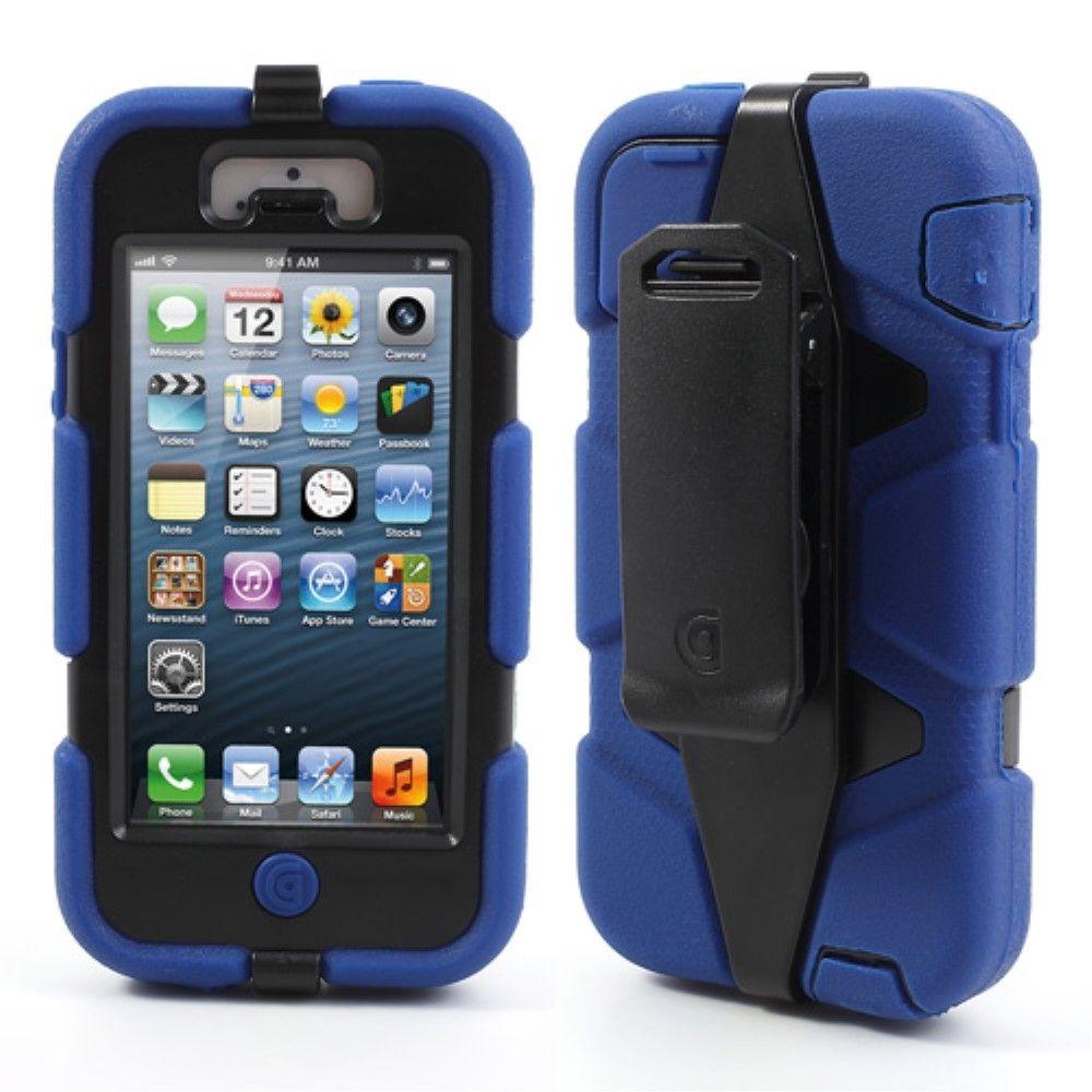 Image of   iPhone 5/5s/SE - Griffin Survivor Hybrid cover med Bælte clip - Blå