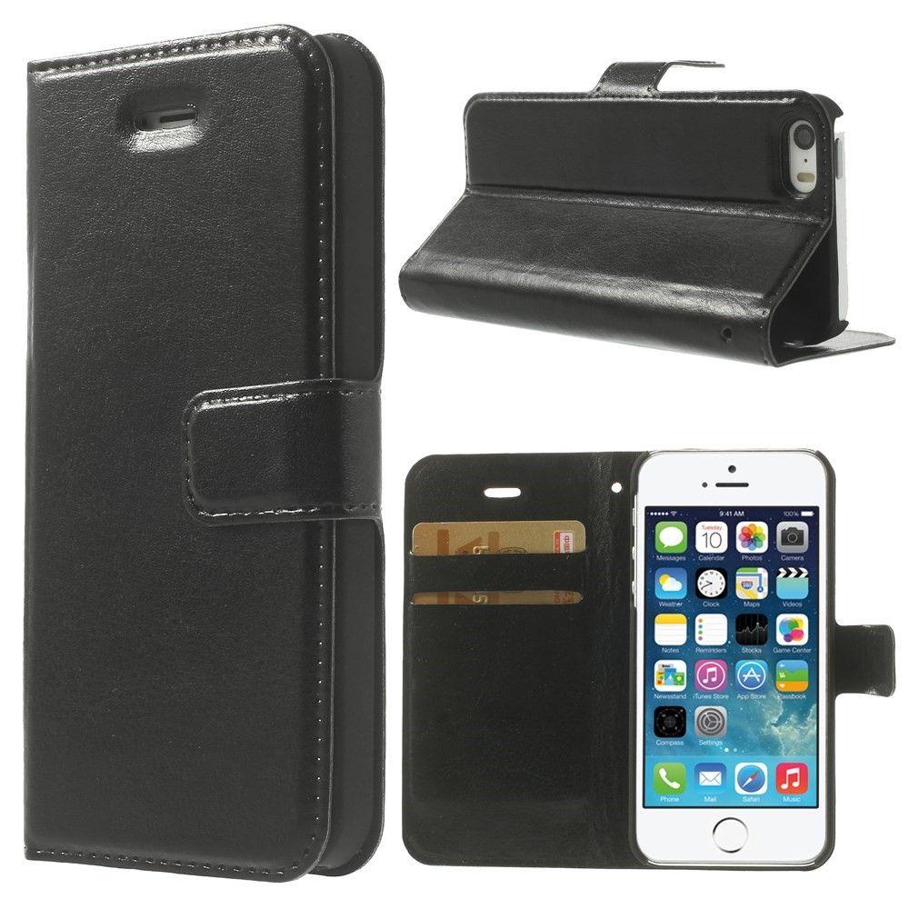 iPhone 5/5s/SE - Pu læder cover Crazy Horse - Sort