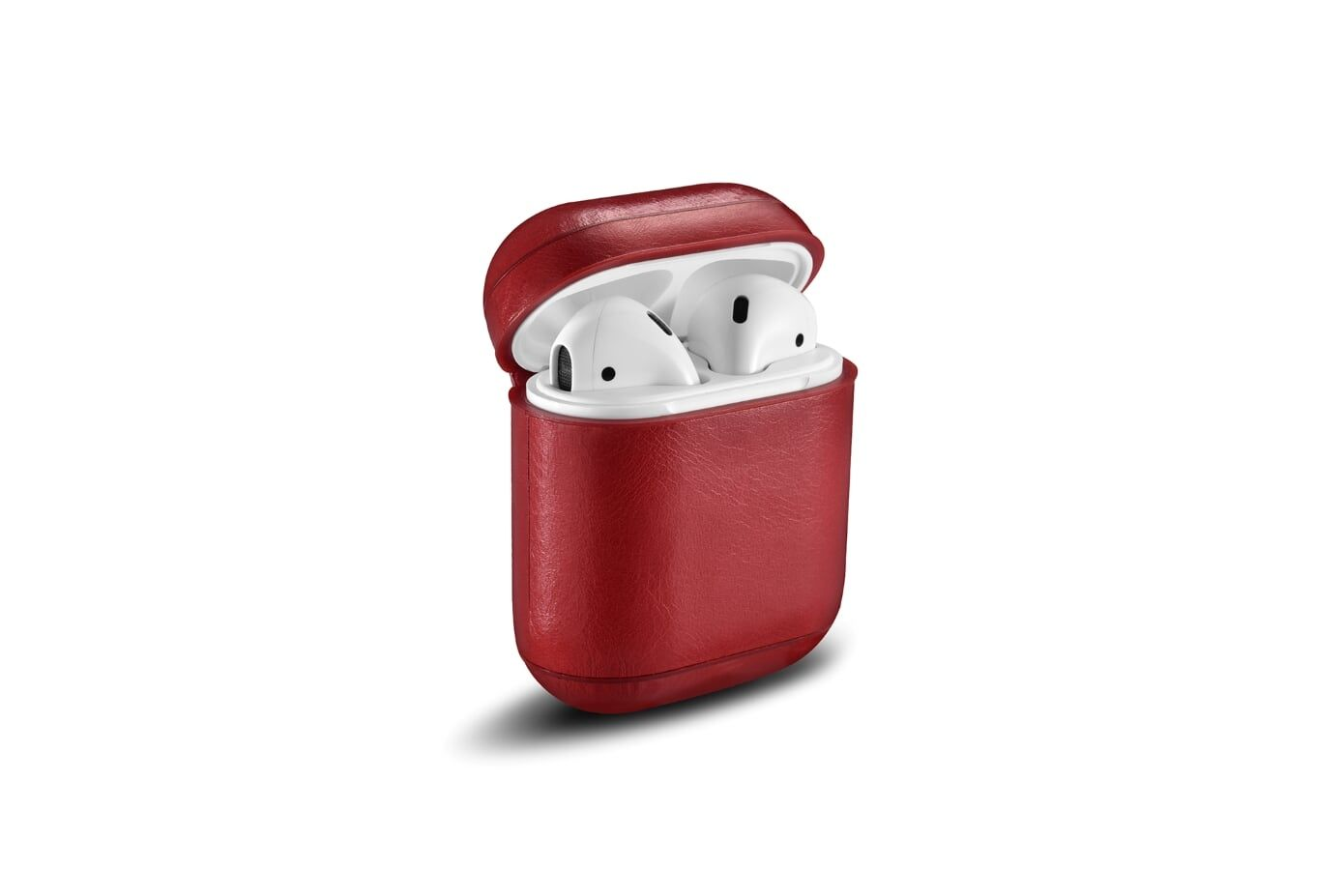 Image of   Apple AirPods - ICARER Vintage ægte læder cover - Rød