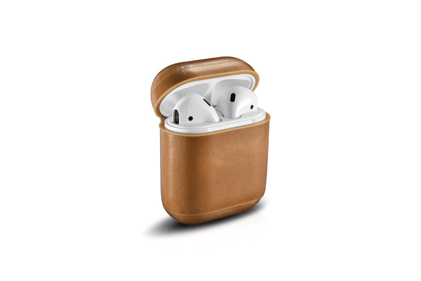 Image of Apple AirPods - ICARER Vintage ægte læder cover - Khaki