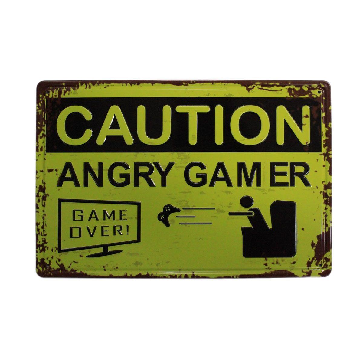 Retro Metalskilt - Angry Gamer
