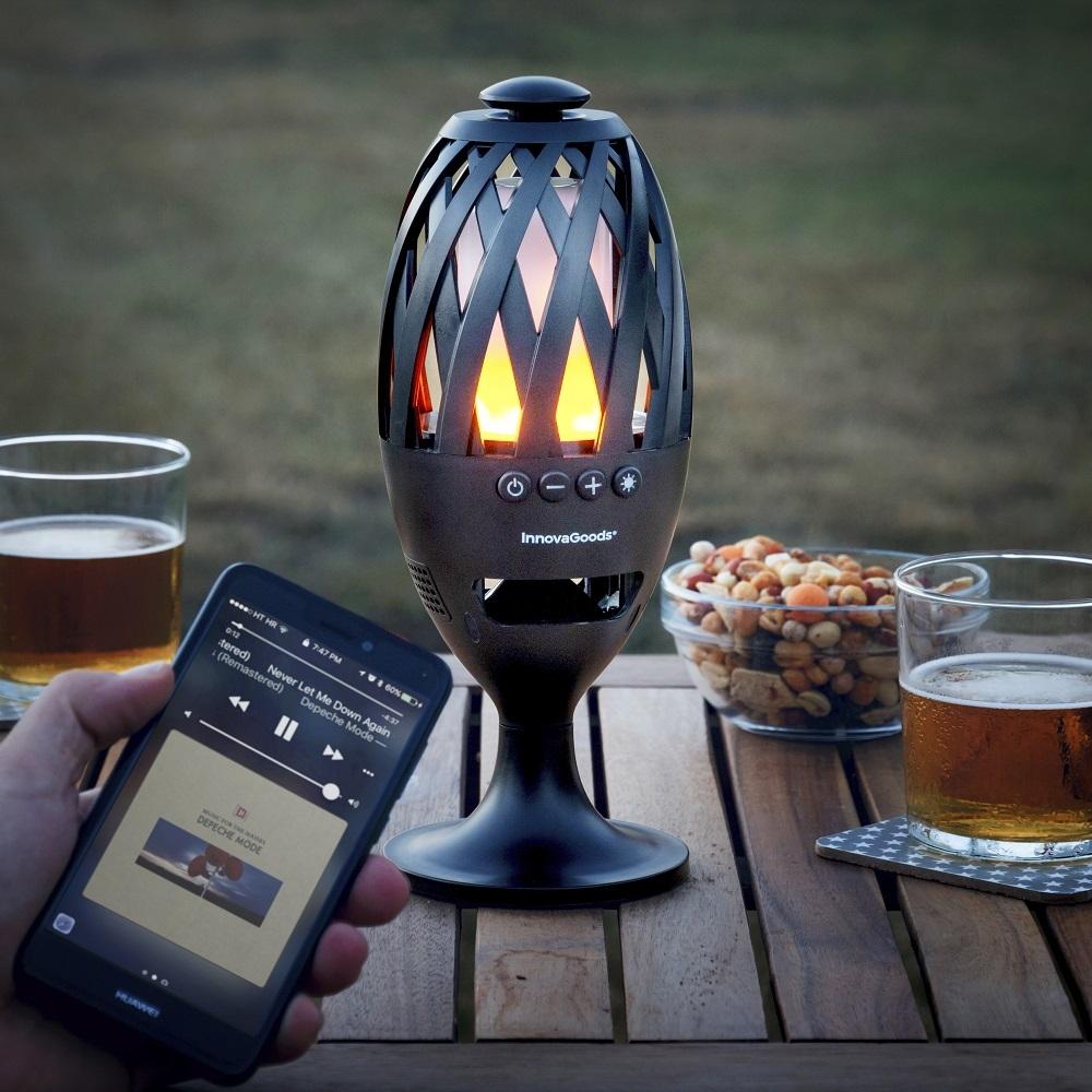 Bluetooth højtaler med LED flammelys – usb genopladelig batteri – vandafvisende