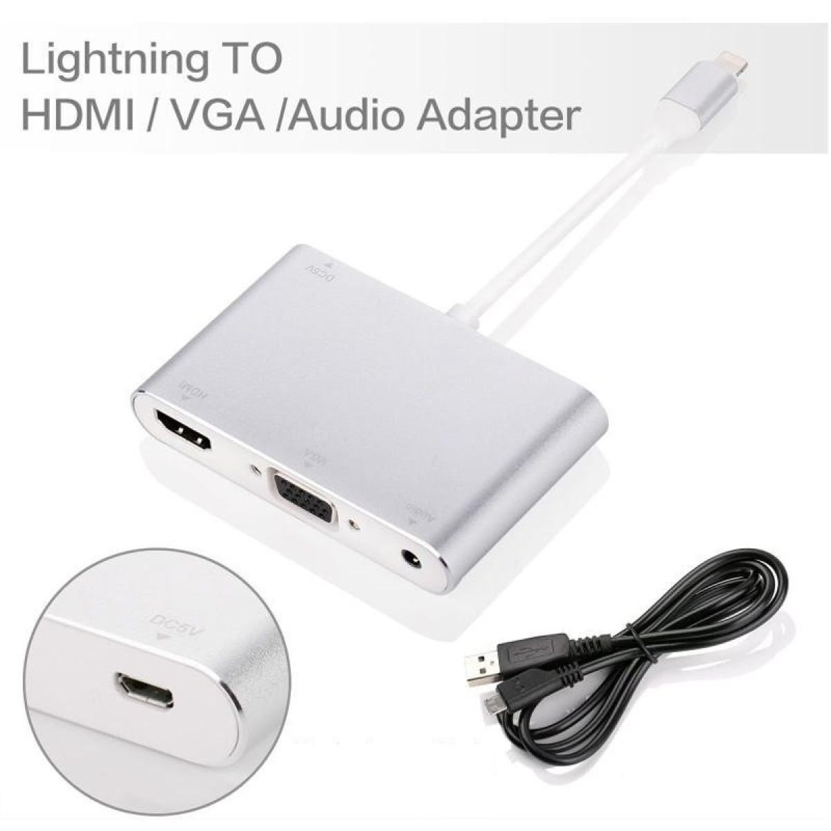 Lightning 8pin / HDMI / VGA audio Adapter - iPhone/iPad
