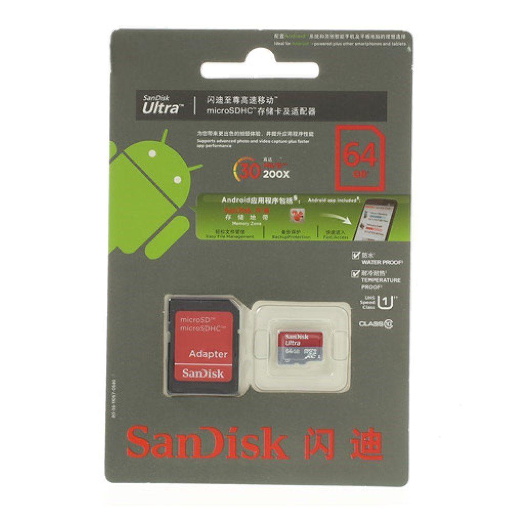 Image of   SanDisk Ultra 64GB Micro SD Hukommelseskort med SD kort Adapter