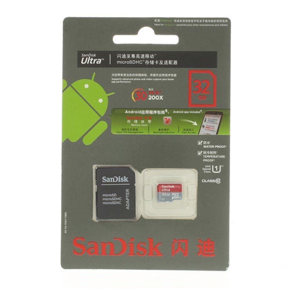 Image of   SanDisk Ultra 32GB Micro SD Hukommelseskort med SD kort Adapter
