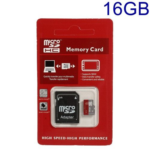 16GB High Speed Micro SDHC Hukommelseskort med SD Adapter