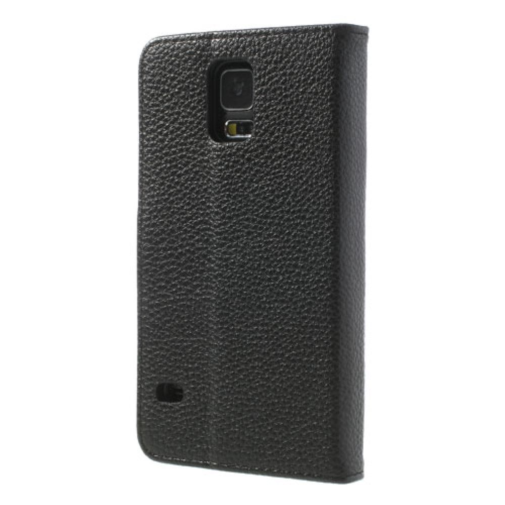 Image of   Galaxy S5 - Læder cover / pung - Sort