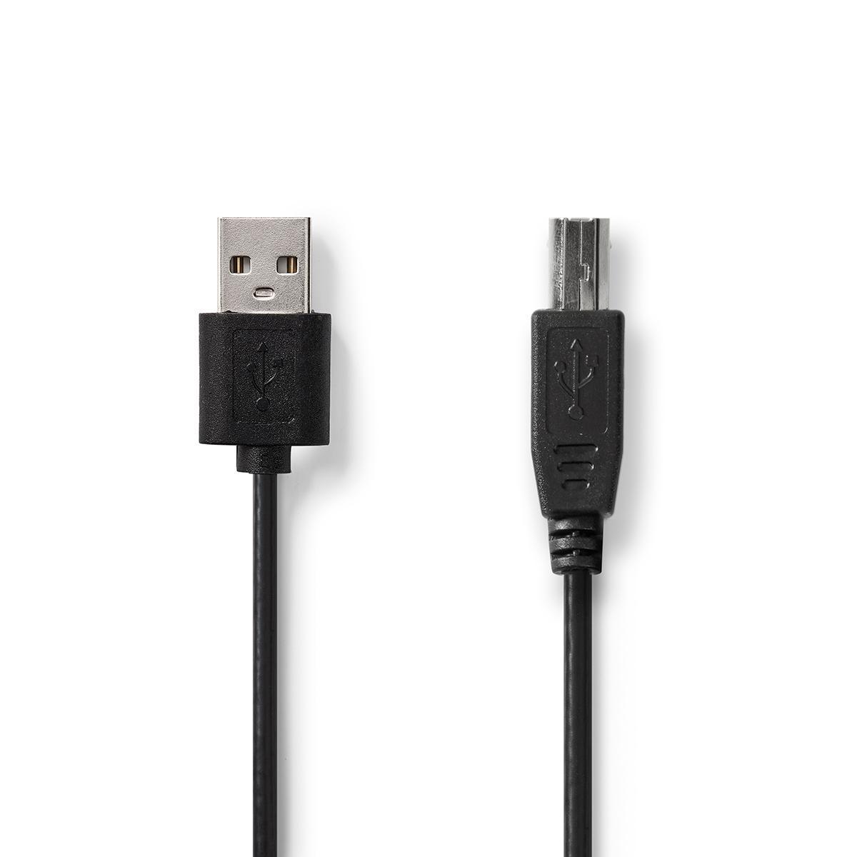 USB 2.0 kabel - USB-A han til USB-B han - 1m - Sort