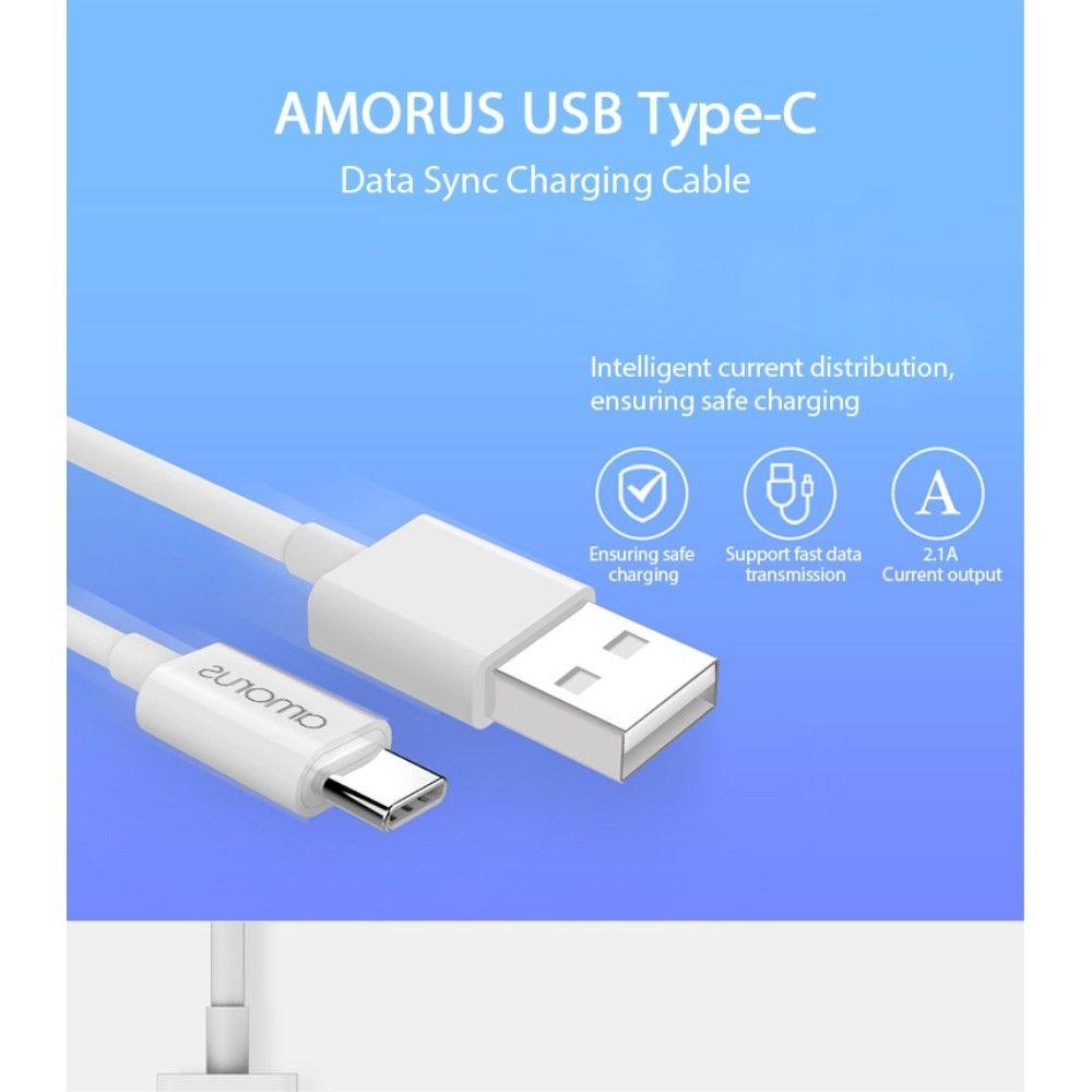 Image of   Huawei Mate 20 pro / Mate 20 Lite / Mate 20 - AMORUS Type-C USB oplader kabel 1m hvid