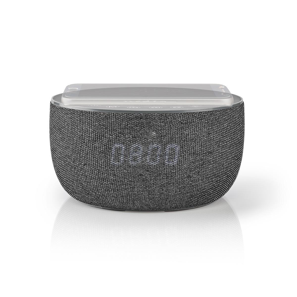 Bluetooth højttaler – Trådløs opladning af smartphones – 6 Timers spilletid | 30 W – Indgygget Ur – Grå