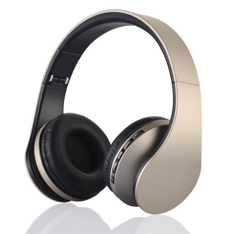 Image of   BTH-811 4-i-1 Over-øre Trådløs Bluetooth Hovedtelefon med Mikrofon - Guldfarve