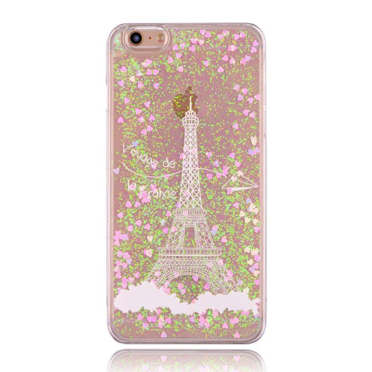 Image of   iPhone 6/6S - Funklende Pulver og Hjerter Hard Cover - Eiffeltårnet