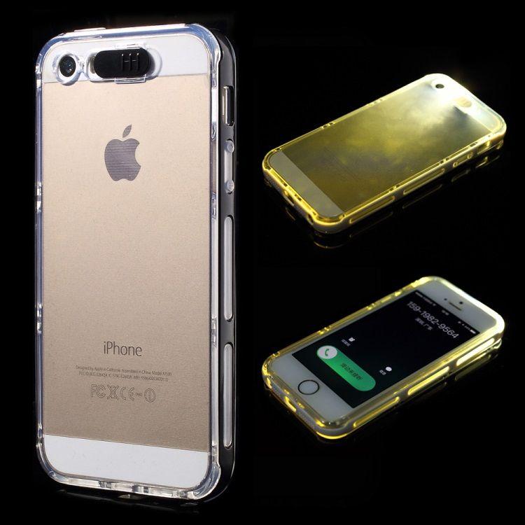 Image of   iPhone 5/5s/SE - Indkommende Opkald LED Lys Klar TPU og PC Etui - Sort