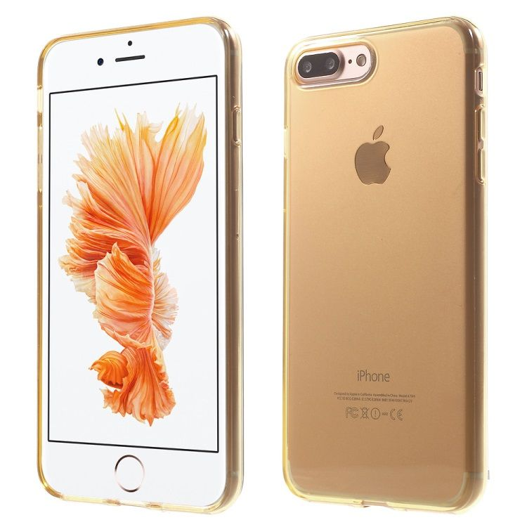 iPhone 7 Plus - Klart Blankt Gummi TPU Cover - Guldfarve