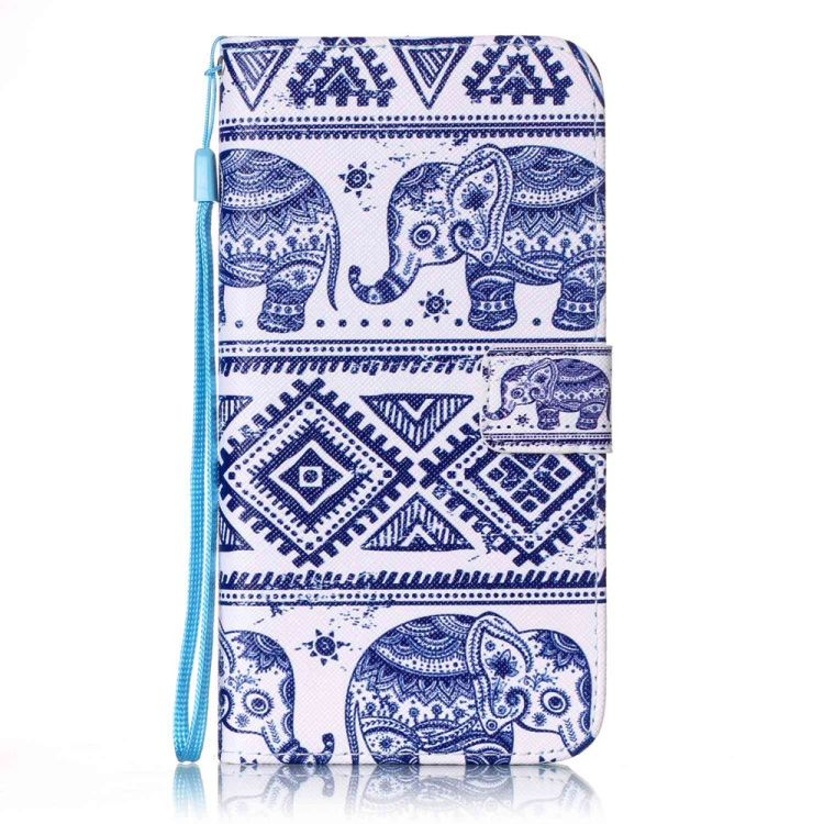 iPhone 8 Plus/7 Plus - Pung Stand PU læder Etui - Elefant og Geometrisk Mønster