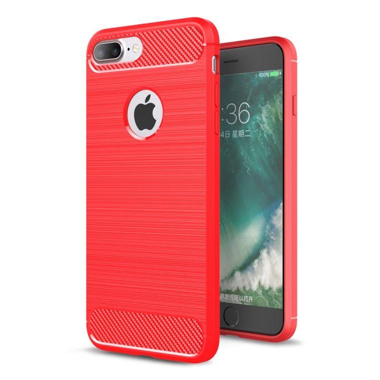 iPhone 8 Plus/7 Plus - Robust Børstet TPU Back Cover med Carbon Fiber - Rød