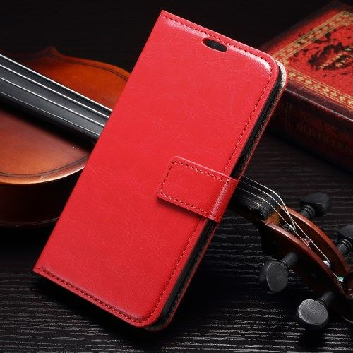 Samsung Galaxy S7 Edge - Crazy Horse PU Læder Stand Etui - Rød