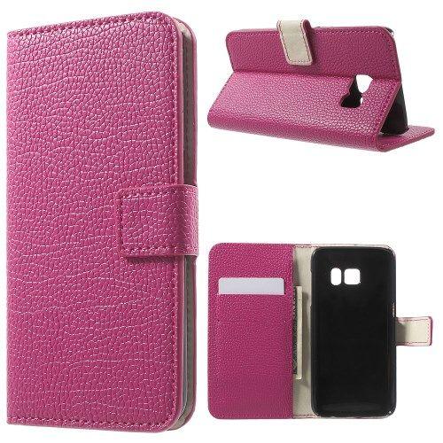 Samsung Galaxy S7 - Litchi PU Læder Pung Stand Etui - Rosa