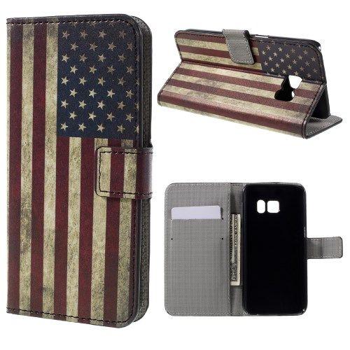 Samsung Galaxy S7 - Pung PU Læder Cover - Retro Amerikansk Flag