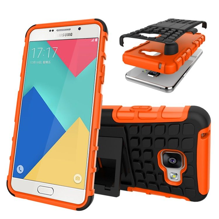Image of   Galaxy A3 2016 - TPU og PC Hybrid Cover med Stand - Orange
