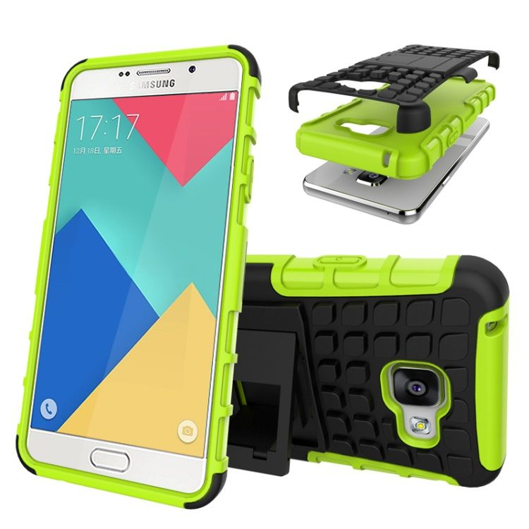 Image of   Galaxy A3 2016 - TPU og PC Hybrid Cover med Stand - Grøn