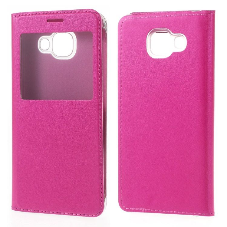 Image of   Galaxy A3 2016 - Flip PU Læder Cover med View - Rosa