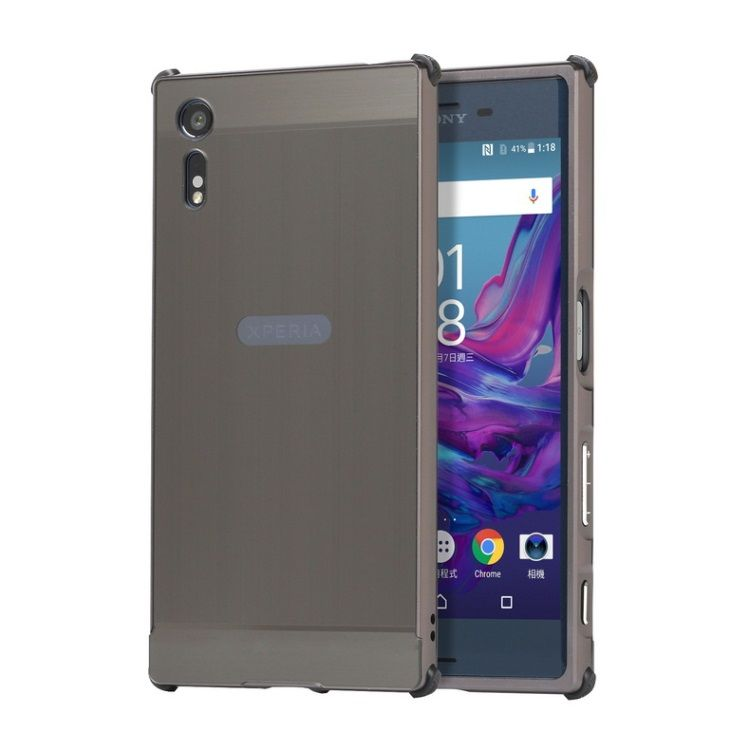Image of   Sony Xperia XZs/XZ - Slide-on Børstet Metal Plade Cover - Sort