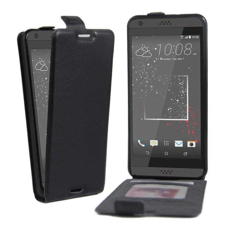 Image of   HTC Desire 530/630 - PU Læder Vertikalt Etui med Skindmønster - Sort
