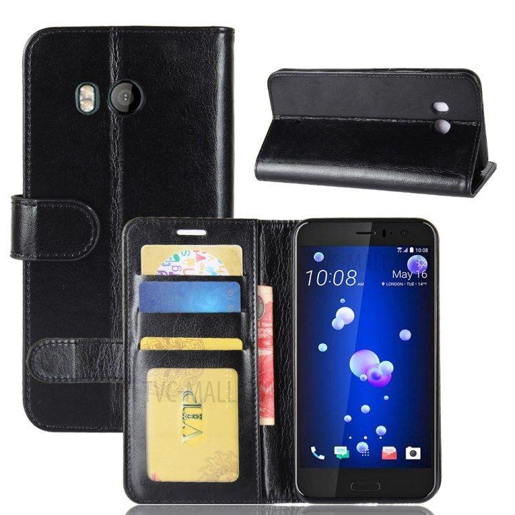 Image of   HTC U11 - læder cover / pung Crazy Horse med kortholdere - Sort